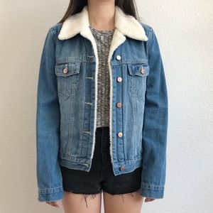 Forever 21 Denim Jacket With Faux Fur Lining